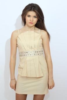 Бежевое котельное платье Kokette со скидкой