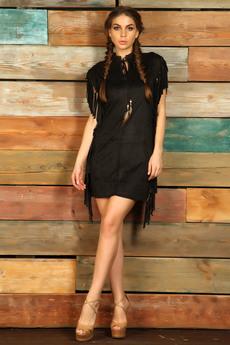 Черное платье с бахромой в стиле бохо Mondigo со скидкой