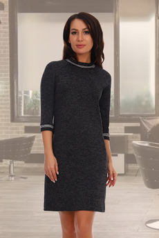 Черное трикотажное платье с длинным рукавом Натали